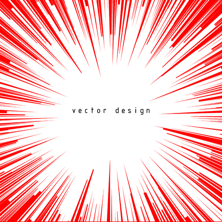 Abstract vector background. For comic book red radial lines. Manga speed frame. Superhero action. Explosion stamp illustration. Sun rays or star burst 向量圖像