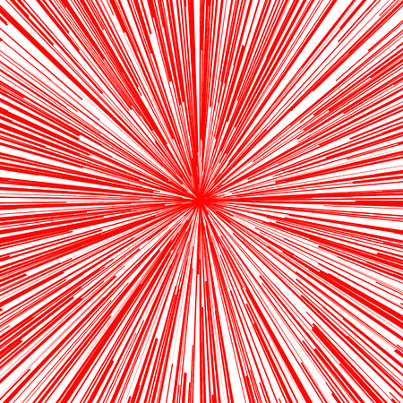 Abstract vector background. For comic book red radial lines. Manga speed frame. Superhero action. Explosion stamp illustration. Sun rays or star burst Ilustrace