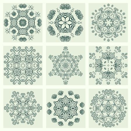 Set flower Mandalas. Vintage, ethnic element. Oriental pattern, vector illustration for wedding invitations, greeting cards. Islam, Arabic, indian, turkish pakistan chinese ottoman motifs