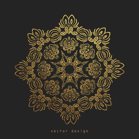 Gold Decorative flower Mandala. Golden Vintage, ethnic element. Oriental pattern, vector illustration for wedding invitations, greeting cards. Islam, Arabic, indian, turkish pakistan chinese motifs Фото со стока - 105948962