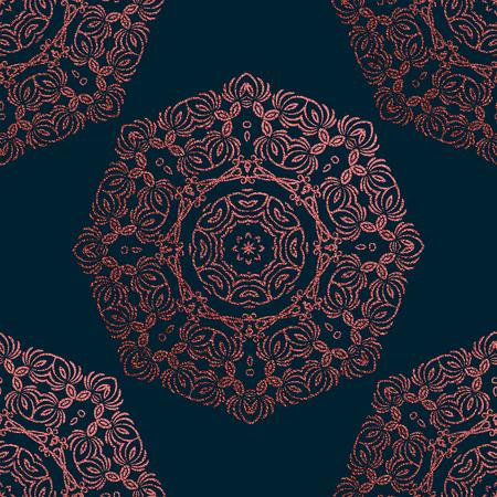 Rosa dekoratives Mandala. Rosenquarz Vintage, ethnisches Element. Orientalisches Muster, Vektorillustration für Hochzeitseinladungen, Grußkarten. Islamische, arabische, indische, türkisch-pakistanische chinesische Motive Vektorgrafik