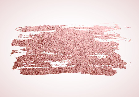 Gold rose paint brush stroke, sparkle background. Pink gold glittering textured art. Hand drawn grunge paint. Vector illustration 矢量图像