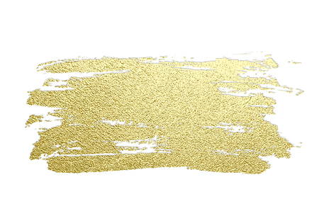 Gold paint stroke. Abstract gold glittering textured art illustration. Hand drawn brush stroke design element. Vector illustration Illustration