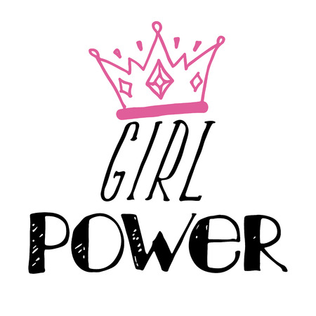 Girl slogan with crown cartoon illustration. Grl pwr hand drawn lettering. Womens right quote. Female, feminism symbols. Vector illustration. Can be used as print for poster, t shirt, postcard.