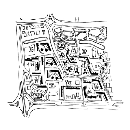 Urban plan of a city, old village. Doodle city map. Vector city drawing. Street map. Futuristic Megalopolis City Basis Plan.