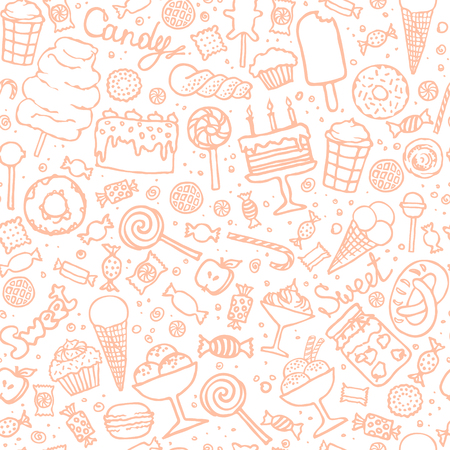Doodle candy background. Seamless pattern with candies, cakes, sweets, ice cream and desserts. Hand drawn vector illustrations. Vettoriali