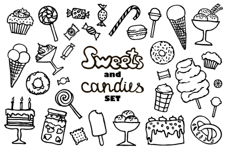 candy and sweet doodle set, vector illustration