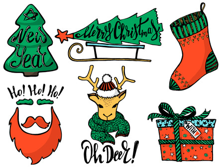 Doodle Christmas Set. Cute hand drawn design elements for you. Merry Christmas and New Year symbols, lettering. Vector illustration