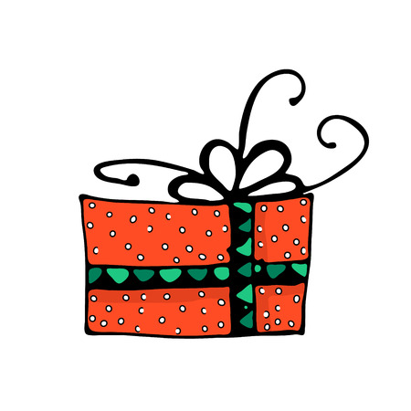 Doodle color Christmas icon, gift box. Cute hand drawn design element for you. Merry Christmas and New Year symbols, lettering. Vector illustration