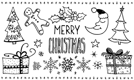 Doodle Christmas Set. Cute hand drawn design elements. Merry Christmas and New Year symbols, lettering. Vector illustration
