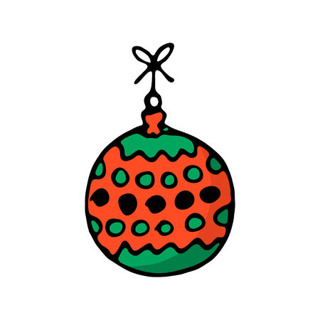 Doodle color Christmas icon. Merry Christmas and New Year decor, symbols. Design for prints and cards. Cute hand drawn design element for you. Vector illustration
