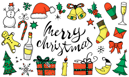 Doodle Christmas Set, color icons, stickers. Cute hand drawn design elements for you. Merry Christmas and New Year holidays symbols, lettering. Vector illustration  イラスト・ベクター素材