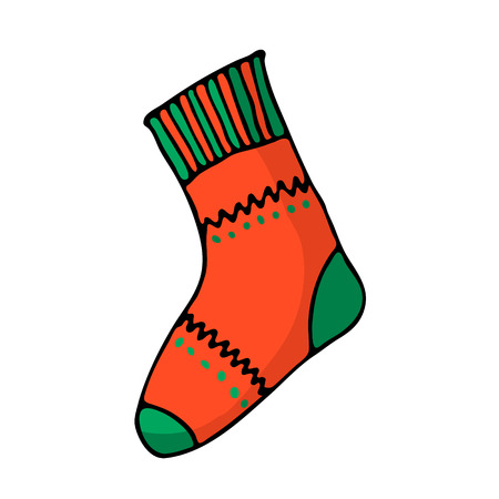 Doodle color Christmas sock icon. Cute hand drawn design element for you. Merry Christmas and New Year symbols, lettering. Vector illustration  イラスト・ベクター素材
