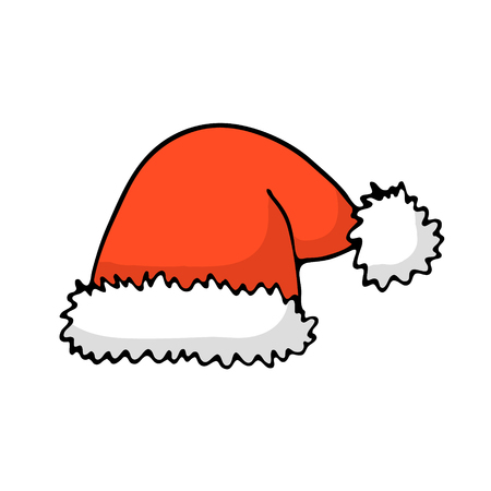 Doodle color Christmas icon - Santas hat. Cute hand drawn design element for you. Merry Christmas and New Year symbols, lettering. Vector illustration