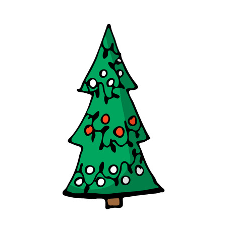 Doodle color Christmas tree icon. Cute hand drawn design element for you. Merry Christmas and New Year symbols, lettering. Vector illustration  イラスト・ベクター素材