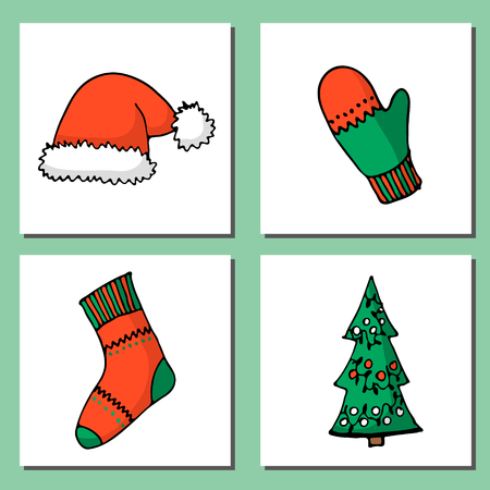 Doodle Christmas cards Set. Cute hand drawn design elements for you. Merry Christmas and New Year symbols. Vector illustration  イラスト・ベクター素材