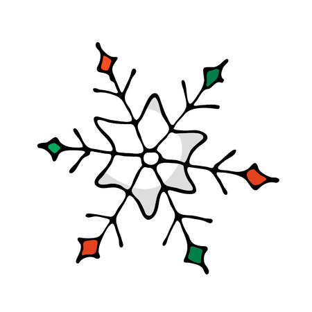Doodle color Christmas icon - snowflake. Cute hand drawn design element for you. Merry Christmas and New Year symbols, lettering. Vector illustration