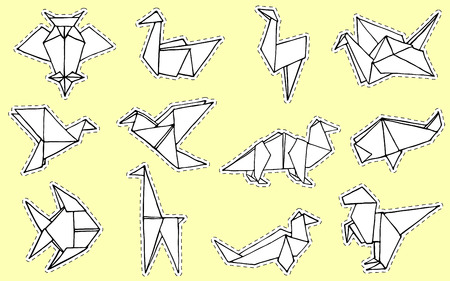 Origami animals collection. Hand drawn origami doodle set. Can be use like a logo, icon or sticker. Minimalistic vector illustration