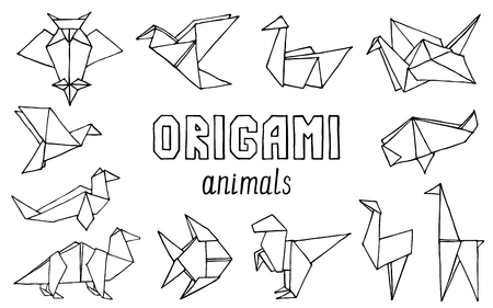 Origami animals hand drawn doodle set. Vector illustration of hand drawn figures from paper Ilustracje wektorowe