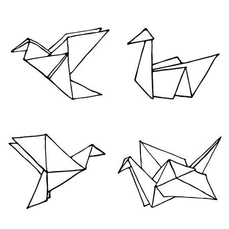 Origami doodle simple set. Collection with four hand drawn origami birds crane, swan, colibri and dove. Geometric minimalistic logo or icon. Vector illustration Ilustracja