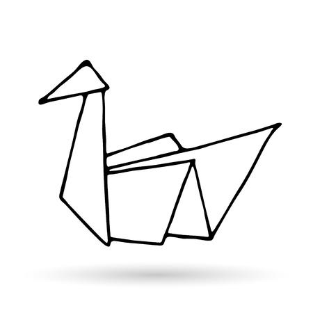 Origami doodle proste ikona. Ręcznie rysowane zwierzę origami. Geometryczne logo lub ikona. Minimalistyczna ilustracja wektorowa