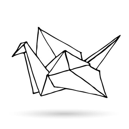 Origami doodle simple icon. Hand drawn origami animal. Geometric logo or icon. Minimalistic Vector illustration Logo