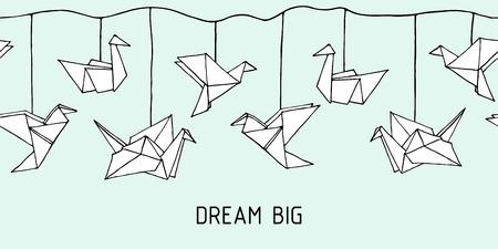 Seamless garland with Hand Drawn Origami birds - crane, swan, colibri and dove. Cartoon kids Ornament. Cute doodle vector illustration. Ilustracje wektorowe