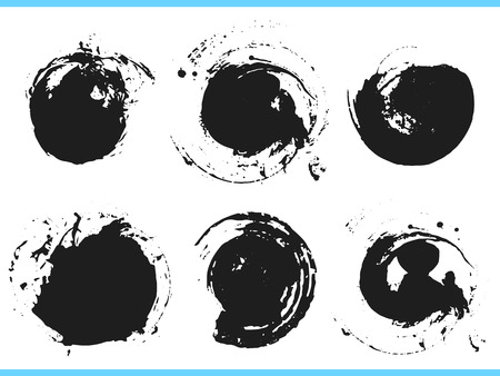 Brush strokes. Vector paintbrush set. Round grunge design elements. Frames for text. Dirty texture banners. Ink splatters. Painted objects.