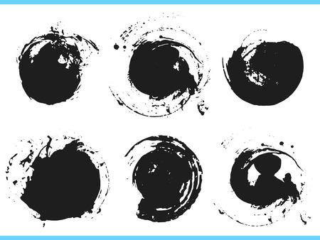 Pinselstriche. Vektor-Pinsel-Set. Runde Grunge-Design-Elemente. Rahmen für Text. Schmutzige Textur-Banner. Tintenspritzer. Bemalte Objekte.