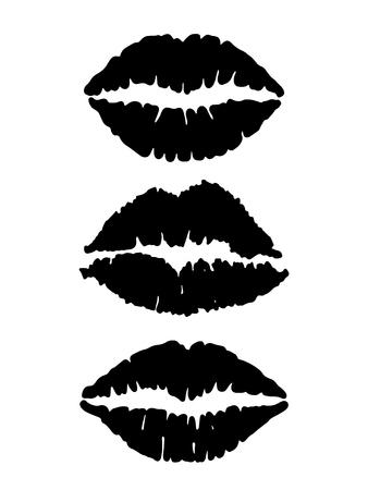 Set of black lips shapes on white