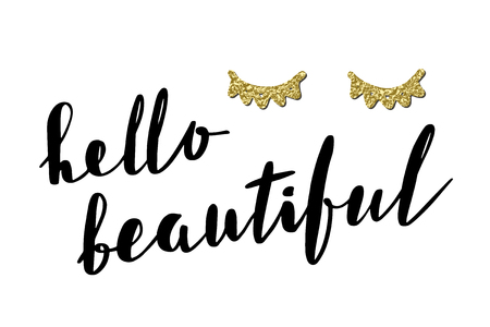 Inspirational quote Hello Beautiful. Vector lettering