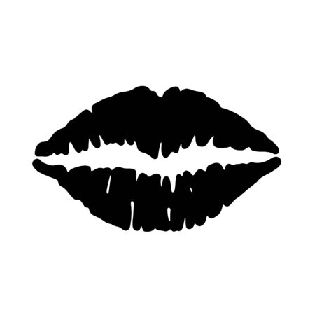 Lip icon, lipstick kiss isolated on white background. Vector illustration.