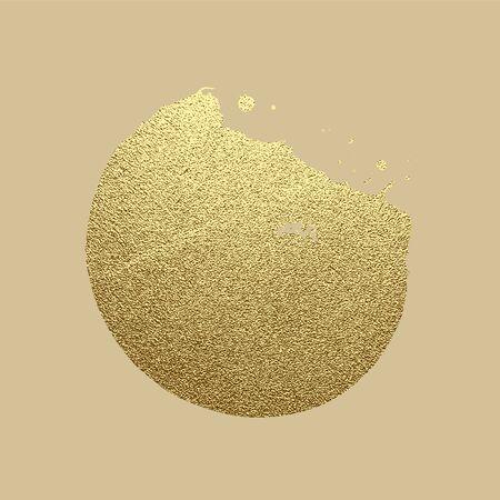 Vector gold paint stroke. Abstract gold glittering textured art illustration.