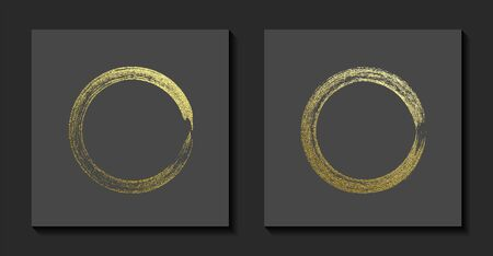 Round grunge golden frame on a gray background. Circle luxury vintage border, Label, logo design element. Hand drawn shape vector Illustration. Gold Brush abstract wave  イラスト・ベクター素材