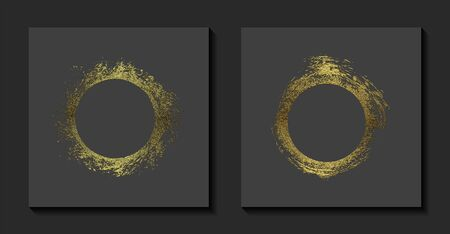 Round golden frames on a grey background. Luxury vintage border, Circle label, logo design element. Hand drawn vector Illustration. Abstract gold brush stroke