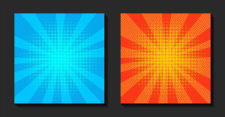 Pop art comic background. Retro rays, bright sunbeams with dots. Comic book fight stamp for card Superhero action frame. Vector illustration.