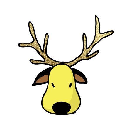 Christmas color deer icon. Cute hand drawn clip art for winter holidays design. Vector illustration for greeting cards, banners, party invitations.  イラスト・ベクター素材