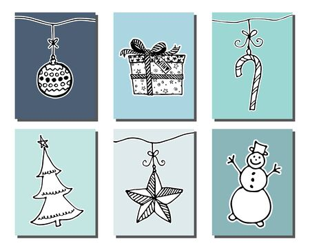 Doodle Christmas cards Set. Cute hand drawn design elements for poster, baner, invitation card. Merry Christmas and New Year symbols. Vector illustration