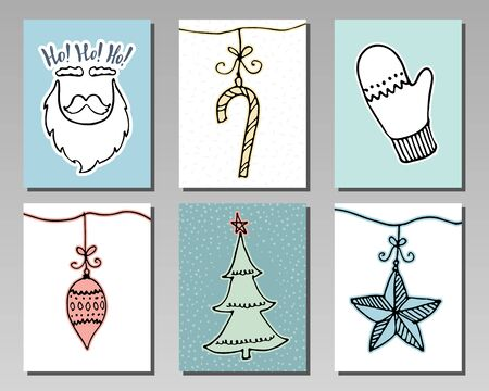 Doodle Christmas cards Set. Cute hand drawn winter design elements for poster, banner or invitation. New Year symbols. Vector illustration