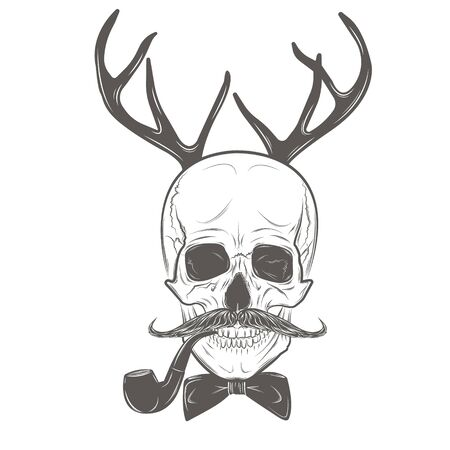 Scull with deer horns, smoking pipe, mustache and tie bow