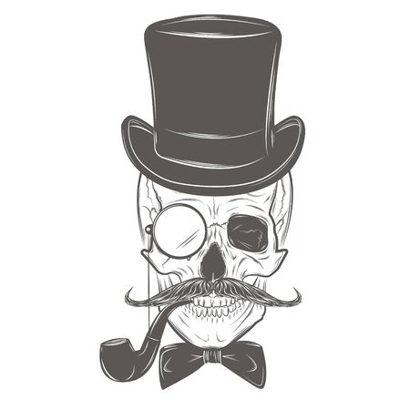 Gentleman Hipster skull in monocle with mustache, bow tie, top hat and smoking pipe. Skull print, skull illustration isolated on white background.