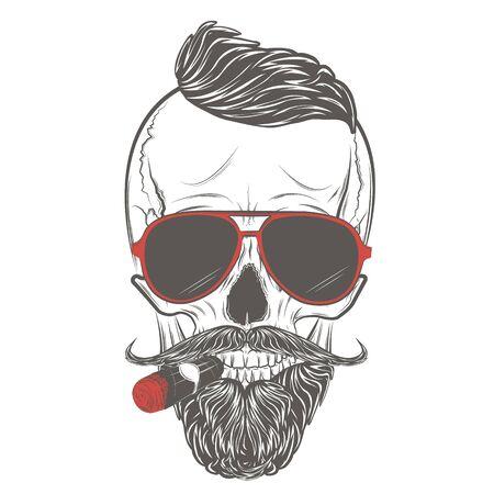 Hipster skull in glasses with mustache, beard and cigar. Skull print, skull illustration isolated on white background. Stock Illustratie