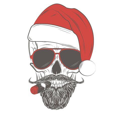 Santa Hipster skull in glasses with mustache, beard and cigar. Skull print, skull illustration isolated on white background. Vector Illustration