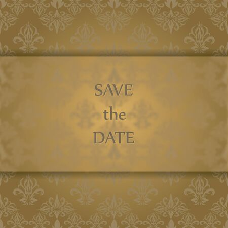 Invitation card with vintage ornament background. Antique greeting card.