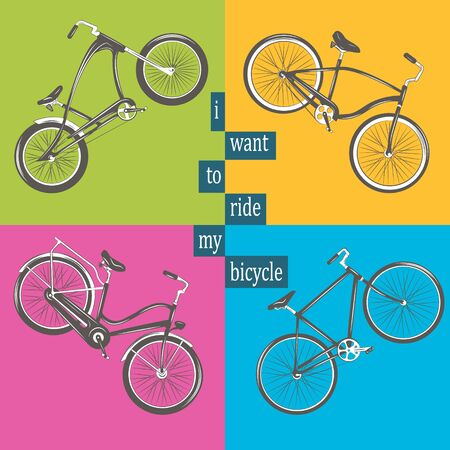 Bicycle Vector illustration. Set with four different bicycles on colorful background: single, chopper, cruiser, tandem. T-shirt Graphics,