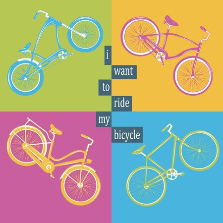 Bicycle Vector illustration. Set with four different bicycles on colorful background: single, chopper, cruiser, tandem.