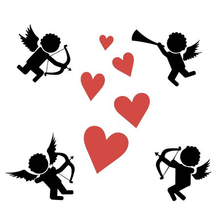 Stick figure cupids. Flying on the wings of love amur, cupid with bow, arrows and pipe. Stick Figure Pictogram Icons
