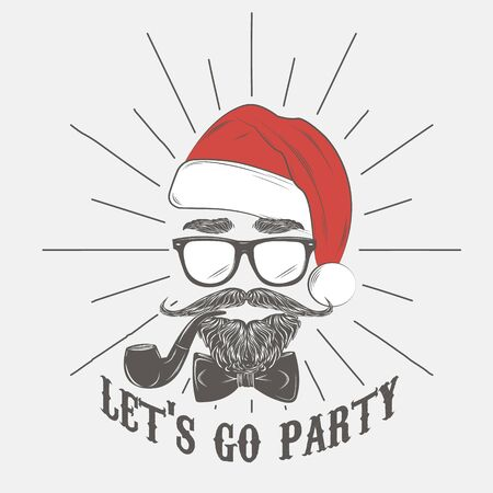 Santa hipster with glasses with beard, mustache and smoking pipe. Vector illustration. New Year hipster man.