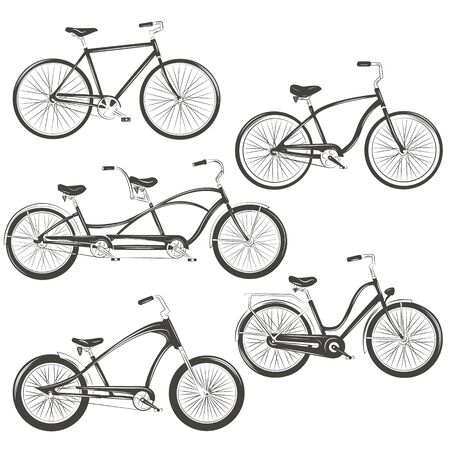 Bicycle Vector illustration. Set with four different bicycles: single, chopper, cruiser, tandem. T-shirt Graphics, Tattoo Designs