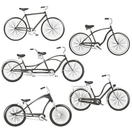 Ilustracja wektorowa rowerów. Zestaw z czterema różnymi rowerami: single, chopper, cruiser, tandem. Grafika na koszulki, wzory tatuaży